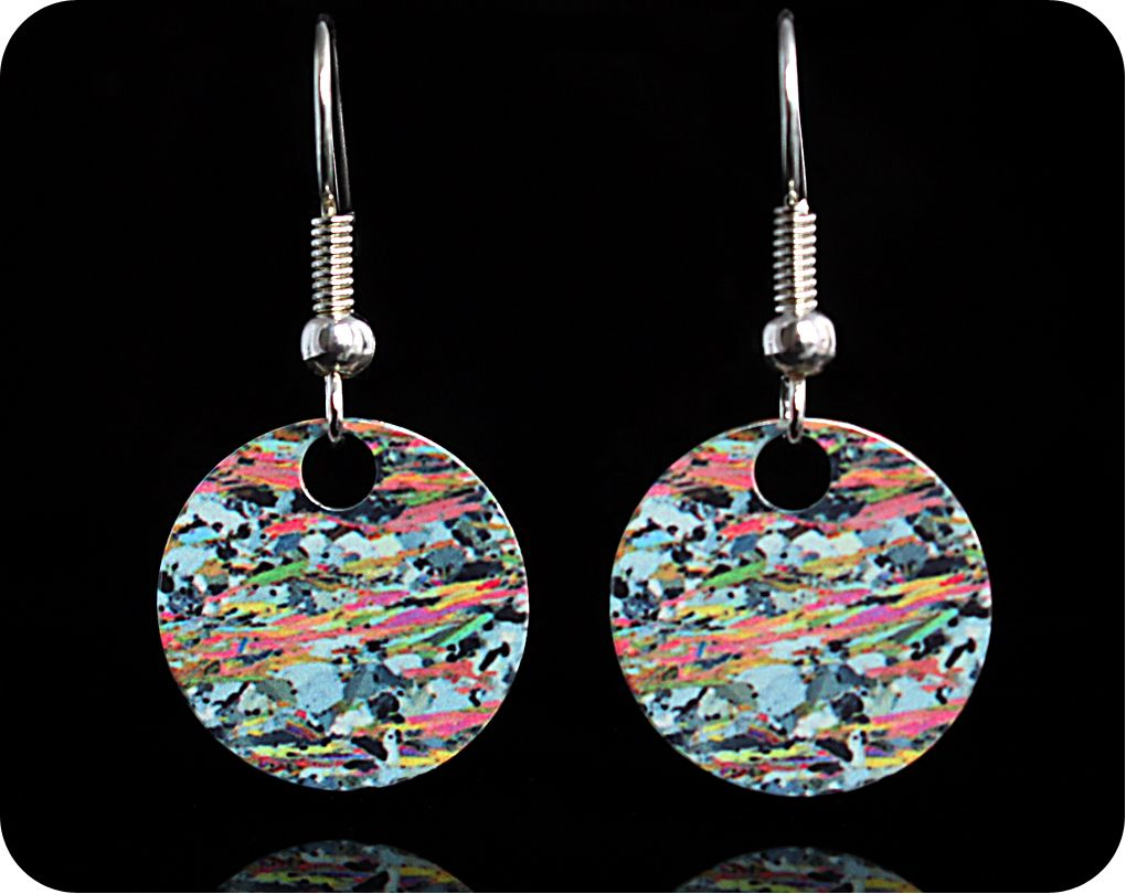 <!-- 00072 -->Geology earrings - Mica Schist from Loch Eilt, Scotland rock
