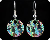 <!-- 00072 -->Hornblendite from Avernish, Scotland (Lewisian Gneiss) rock thin section Earrings (ER41)