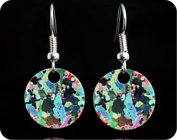 Hornblendite from Avernish, Scotland (Lewisian Gneiss) rock thin section Earrings (ER41)