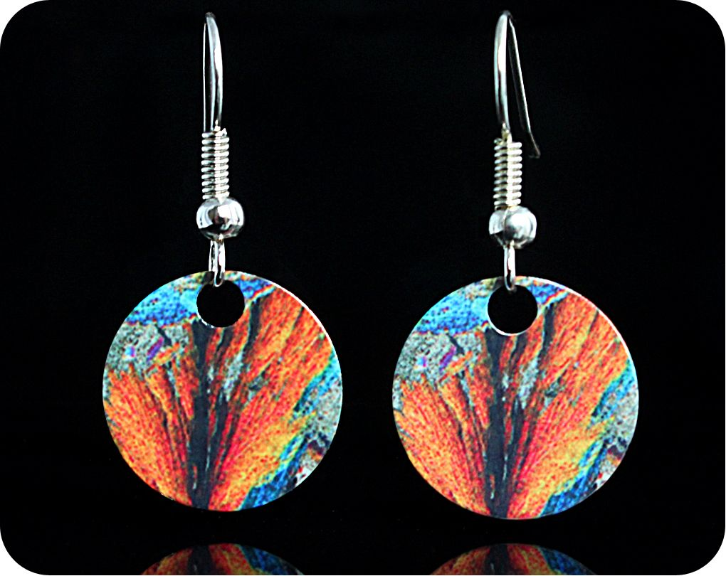 <!-- 00092 -->Geology earrings - Barytes from Strontian, Scotland rock thin