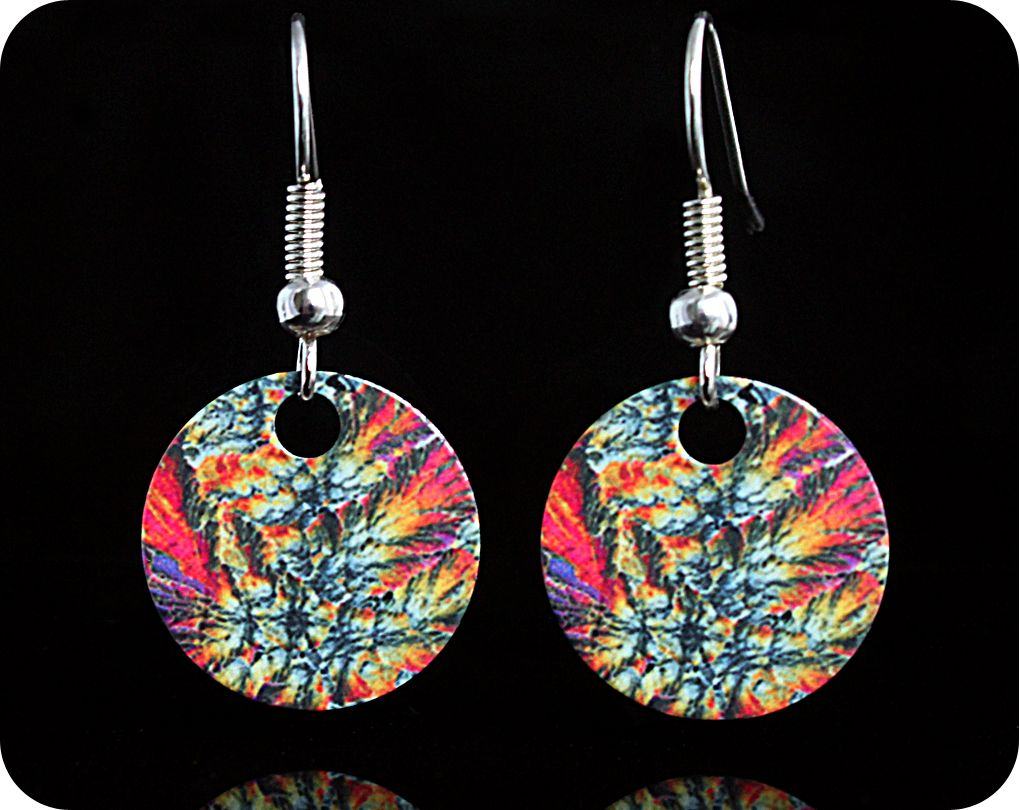 <!-- 00112 -->Geology earrings - Barytes from Castleton, England rock thin