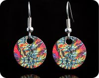 <!-- 00112 -->Geology earrings - Barytes from Castleton, England rock thin section Earrings (ER64)