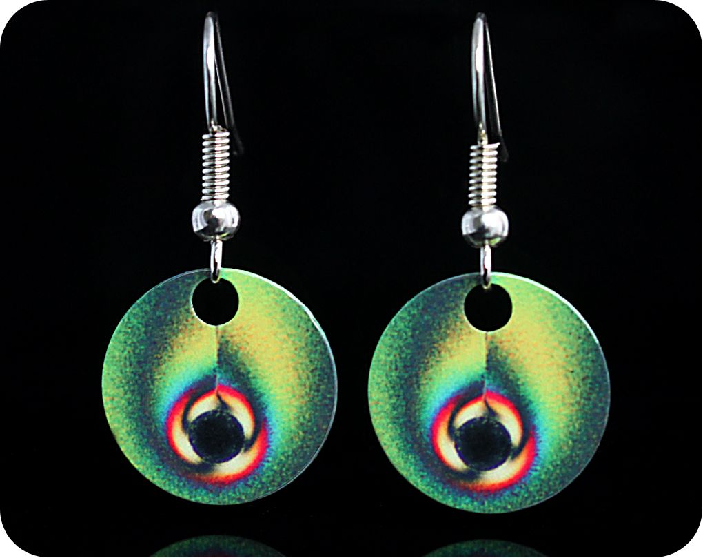 <!-- 00062 -->Chemistry Earrings - Vitamin C crystals viewed by polarised l