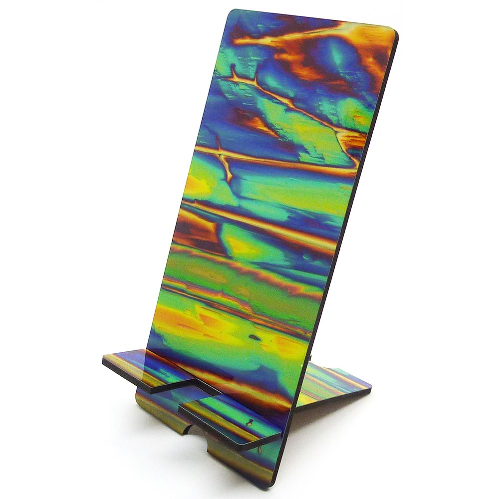Science mobile phone stand - Imidazole crystals by polarised light microsco