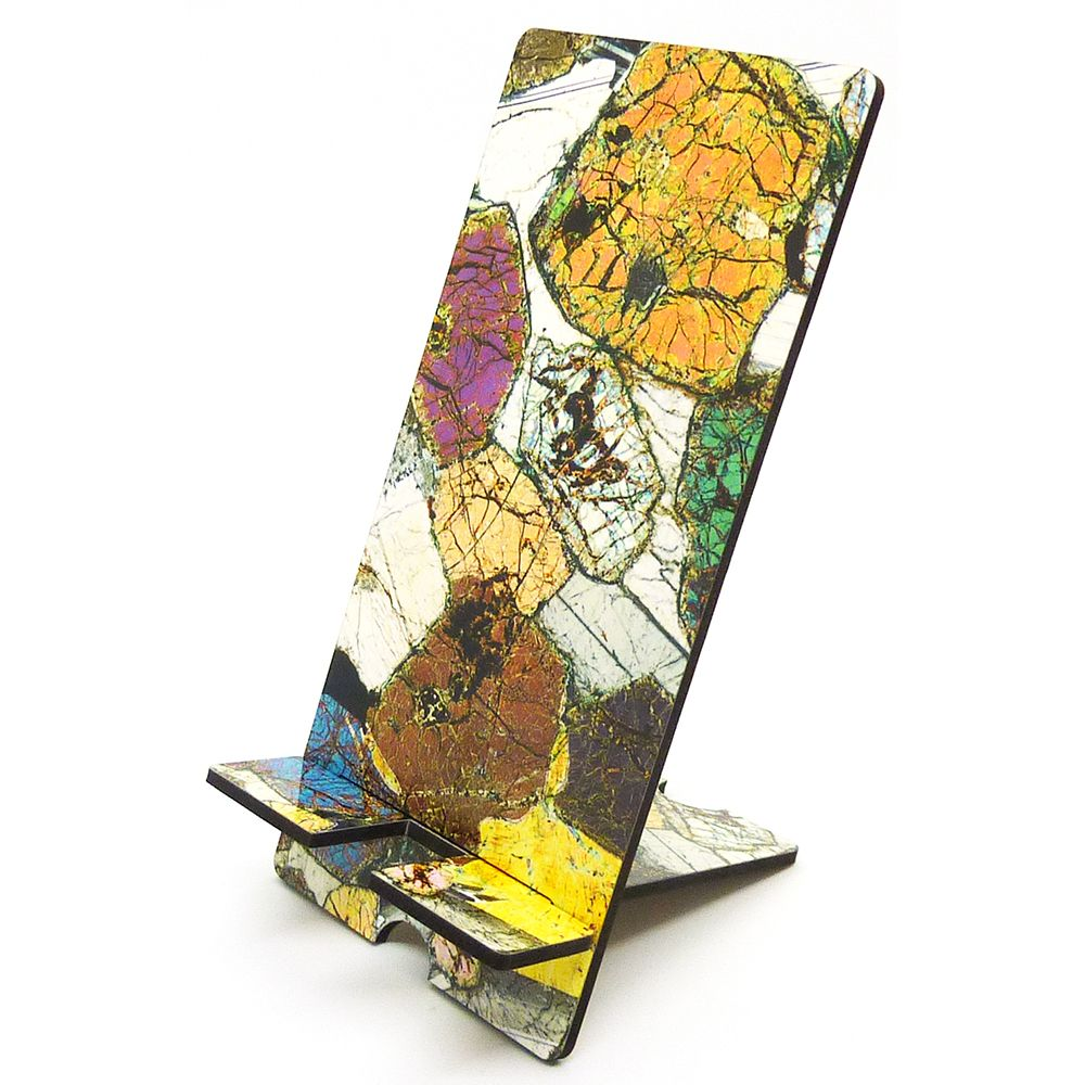 Scottish geology microscope photo mobile phone stand - Peridotite from Ardn