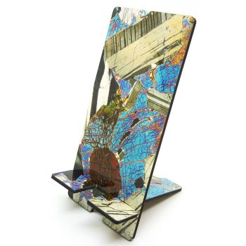 Rock thin section microscope photo mobile phone holder - Gabbro from Huntly, Scotland (PS43)