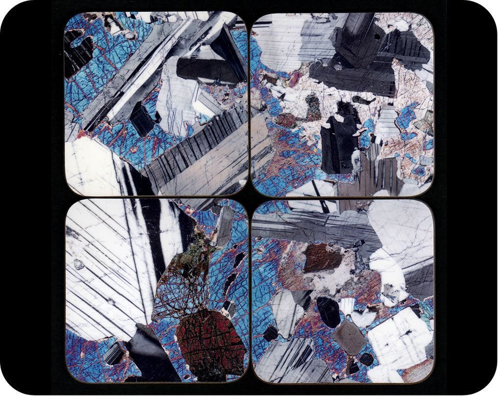 <!-- 00020 -->Set of 4 geology coasters - Rock thin section microscope phot