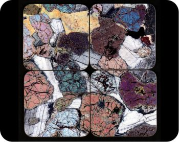Ardnamurchan, Scotland gift - Peridotite rock thin section set of 4 geology coasters