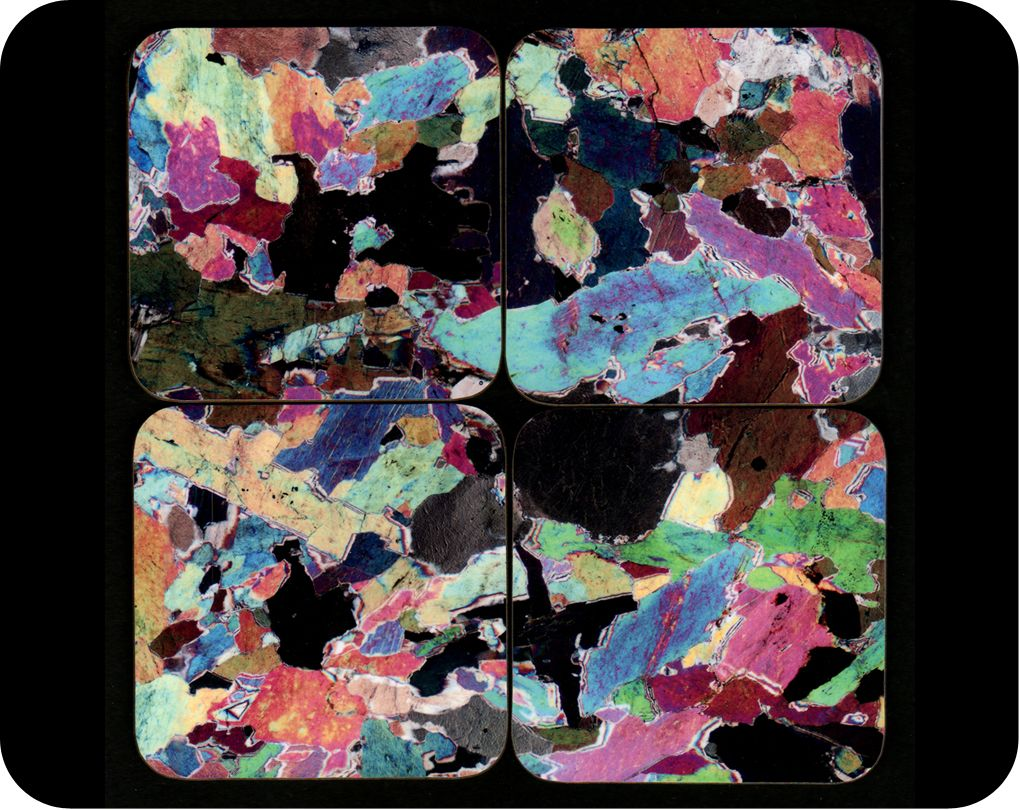 <!-- 00022 -->Lewisian Gneiss rock thin section microscope photo set of fou