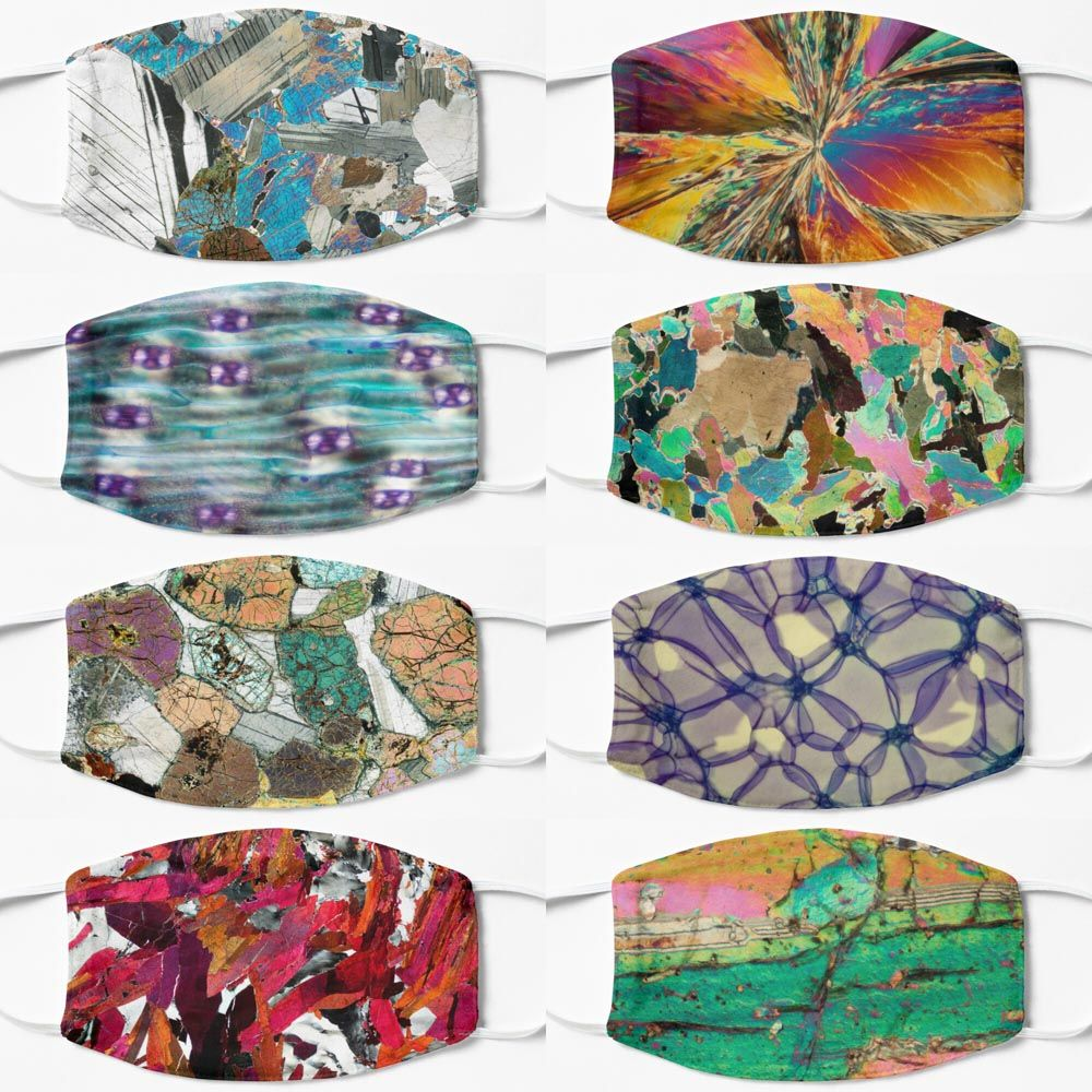 Science face masks - geology biology and chemistry science themed facemasks