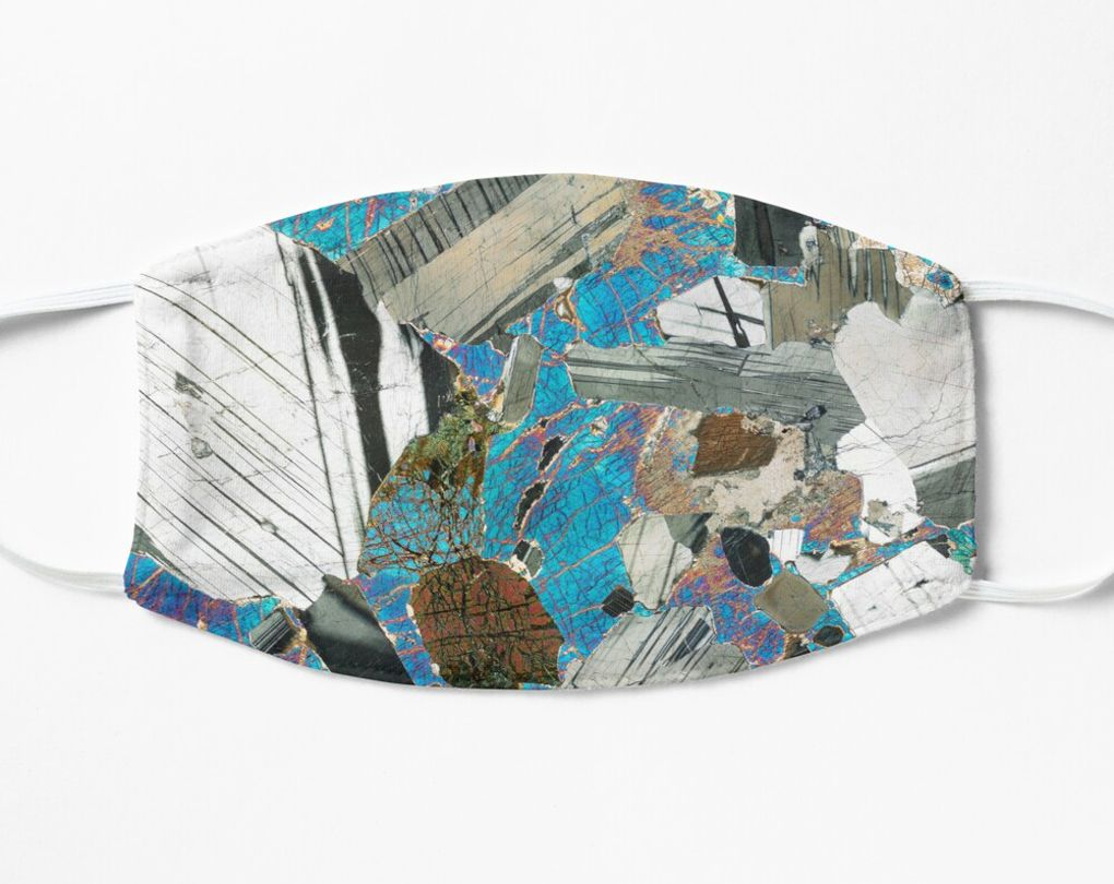 Geology Face Mask - Gabbro from Huntly, Scotland rock thin section image (F