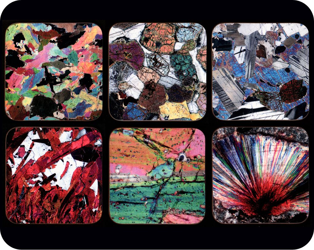 <!-- 00000 --> Six Rock thin section image Geology Coasters - great gift fo