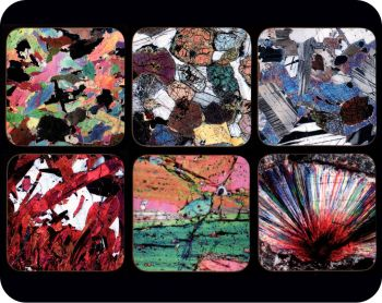 Six Rock thin section image Geology Coasters - great gift for a geologist (Co-Geo6)