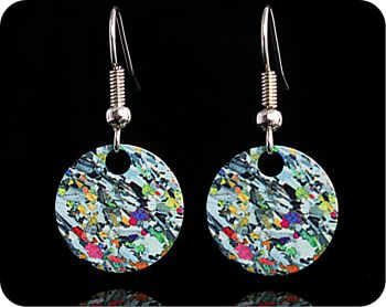 Geology earrings - Eucrite from Ardnamurchan, Scotland rock thin section Earrings (ER65)