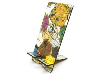 Scottish geology microscope photo mobile phone stand - Peridotite from Ardnamurchan (PS42)