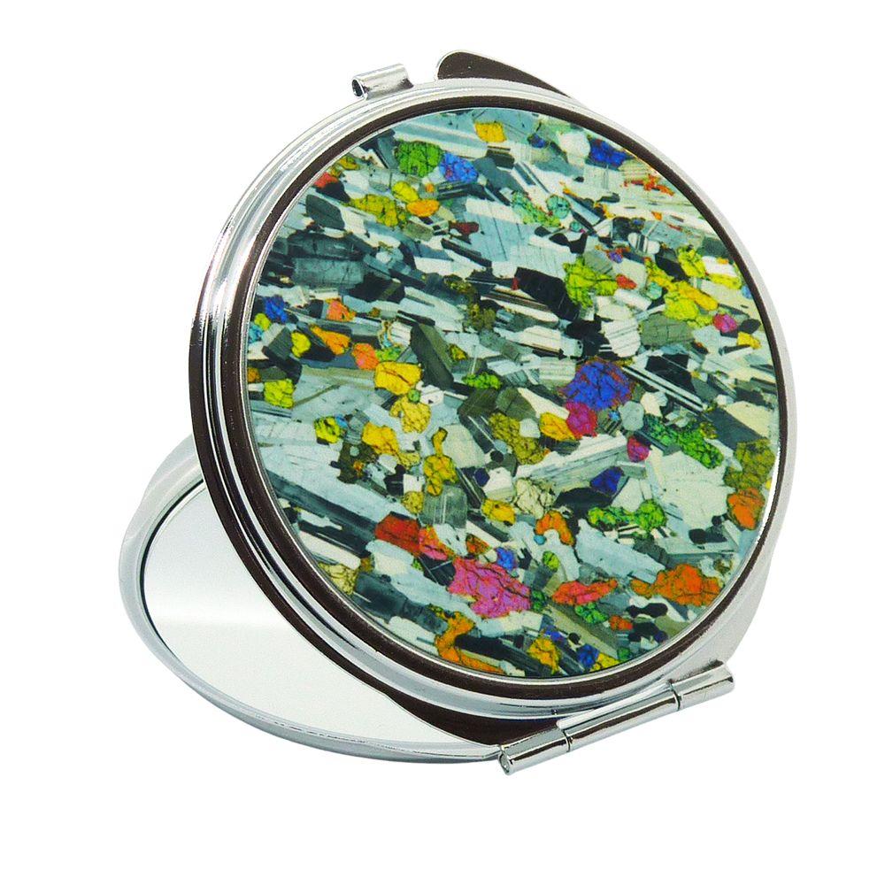 <!-- 00093 -->Handbag Mirror - Rock thin section Eucrite from Ardnamurchan,