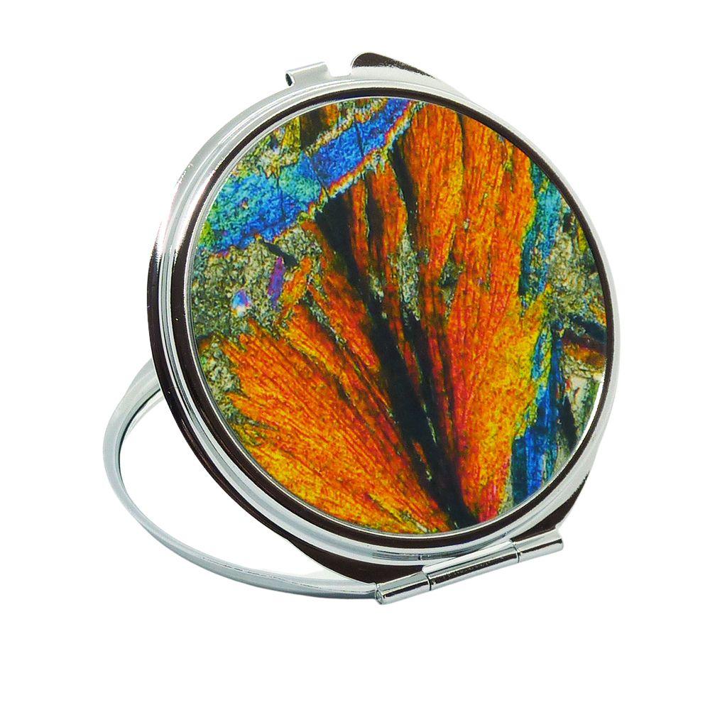<!-- 00213-->Handbag Mirror - Rock thin section Barytes from Strontian, Sco