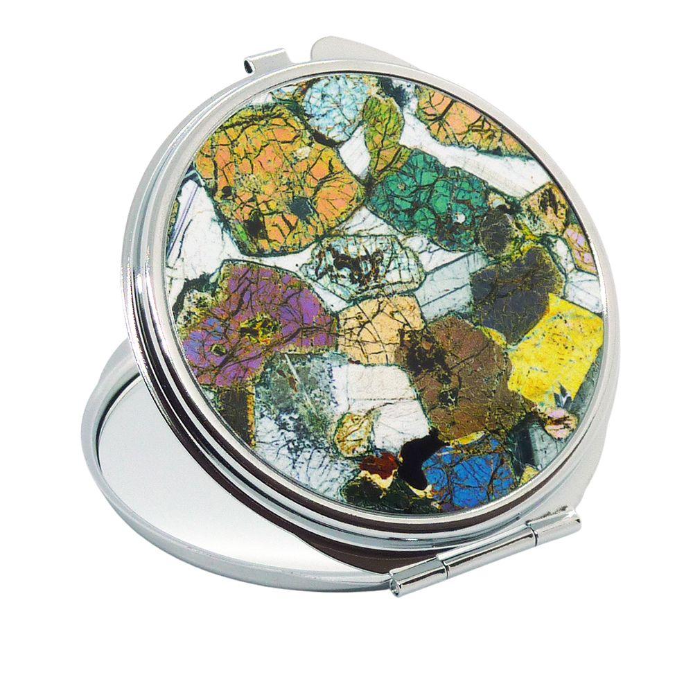 <!-- 00023-->Geology Handbag Mirror - Peridotite from Ardnamurchan, Scotlan