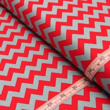 Small Red / Turquoise Chevron Print Riley Blake
