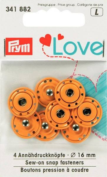 Orange snap fasteners (4x16mm)