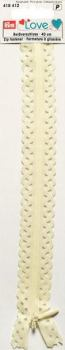 40cm Lace Edged White Zip