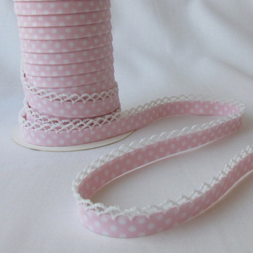 Lace Edged Bias Binding - Pale Pink Spot