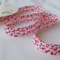 Red Floral Bias Binding - 18mm