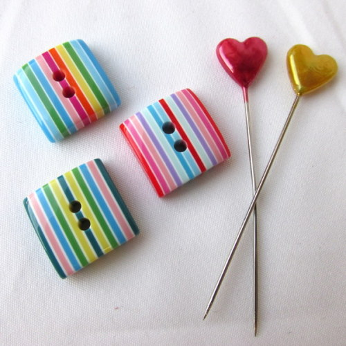 Candy Striped Buttons - Greens