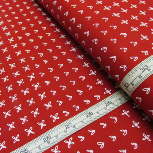 Hearts and Crosses On Chinese Red, Part of the Blueberry Park Collection Fo