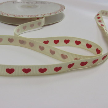 9mm Red Hearts on Cream Grosgrain Ribbon Bertie's Bows