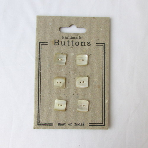 6 Square Agoya Shell buttons by East of India