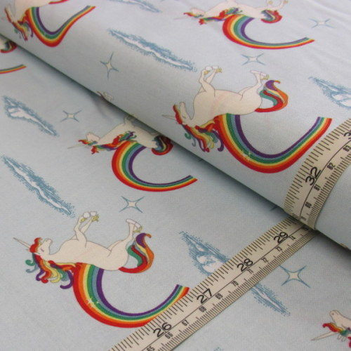 Unicorns on pale blue by Doohikey Designs for Riley Blake