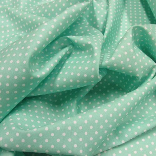 Mint Spotty cotton by Rose and Hubble