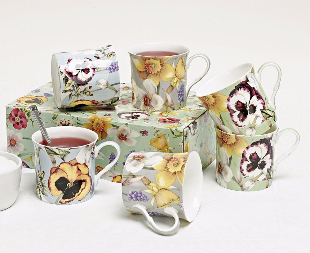 Set of six Fine Bone China Mugs in classic Pansy Design
