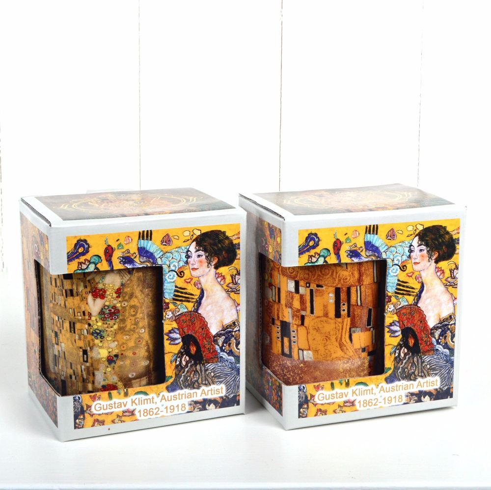 Gustav Klimt Artist Pair of Mugs in Fine China with individual Gift Boxes