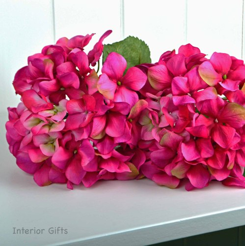 Faux Silk Hydrangea Stem in Deep Pink