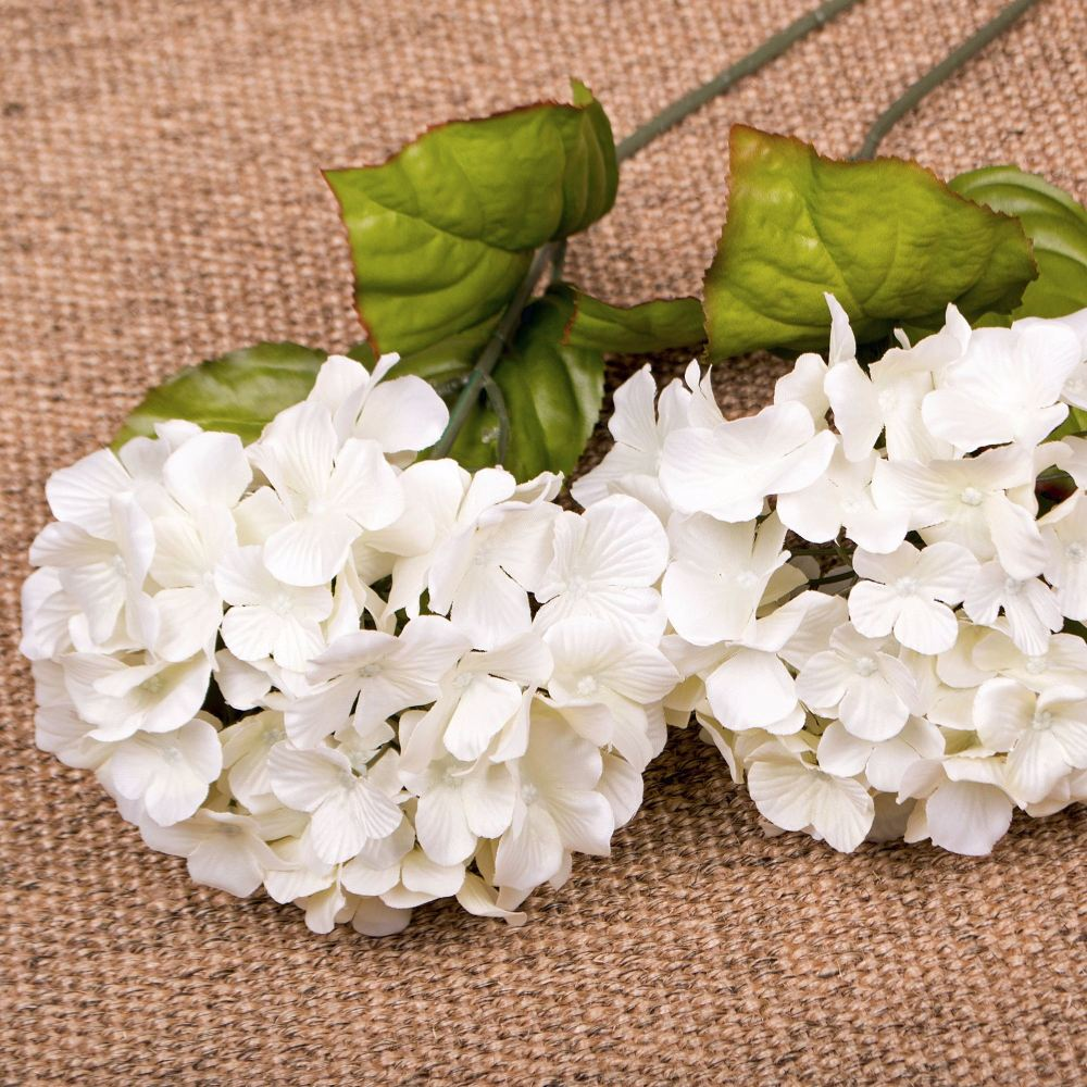 Faux Silk Hydrangea Stem in White