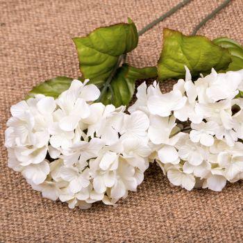 Faux Silk Hydrangea Stem in Off-White - 65 cm