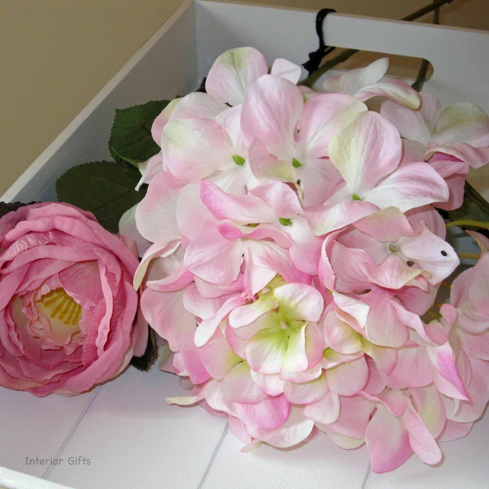 Faux Silk Hydrangea Stem in Light Pink