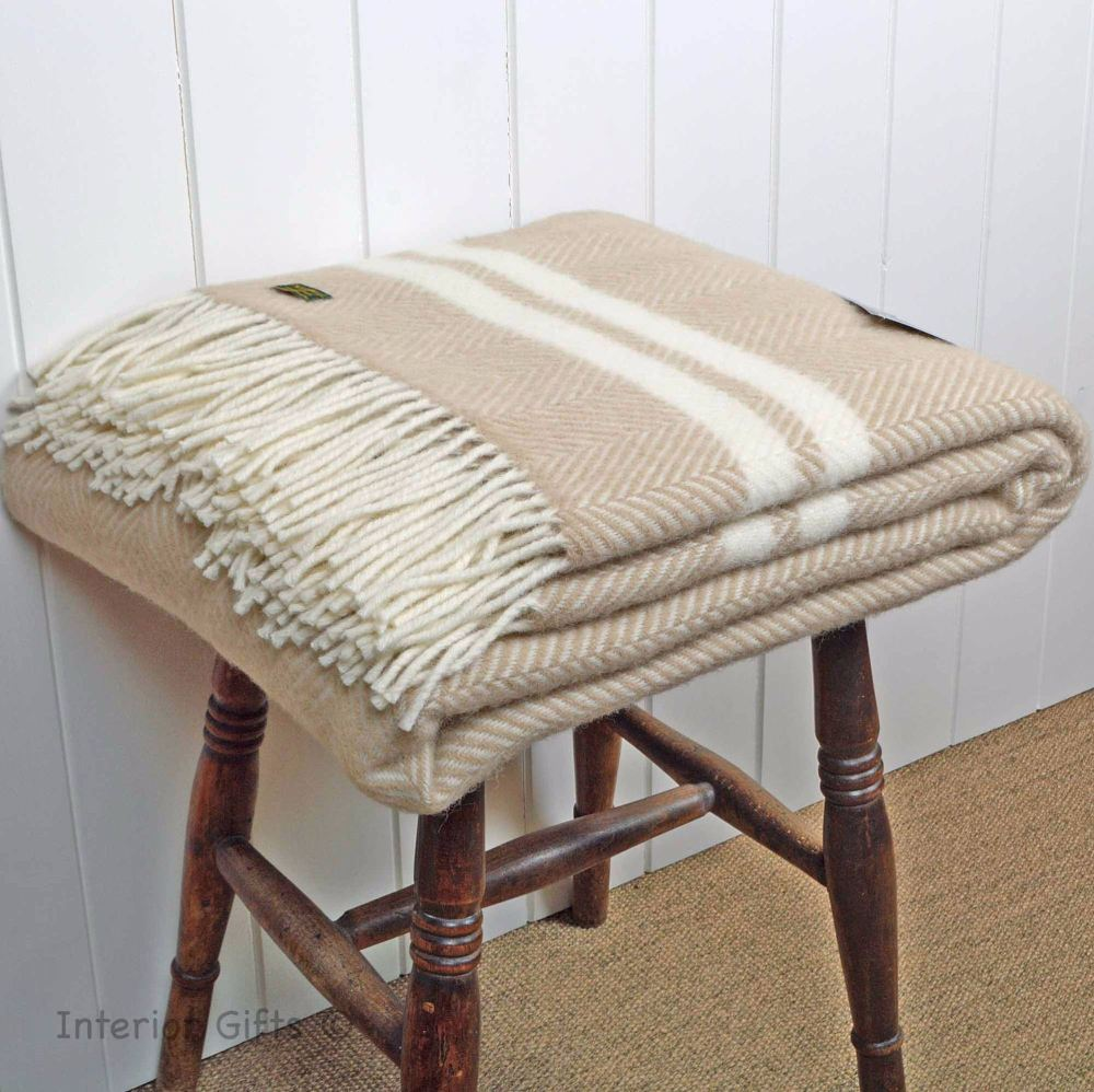 Fawn and Cream Stripe Herringbone Pure New Wool Throw