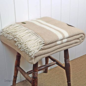Tweedmill Beige and Cream Herringbone Pure New Wool Throw Blanket