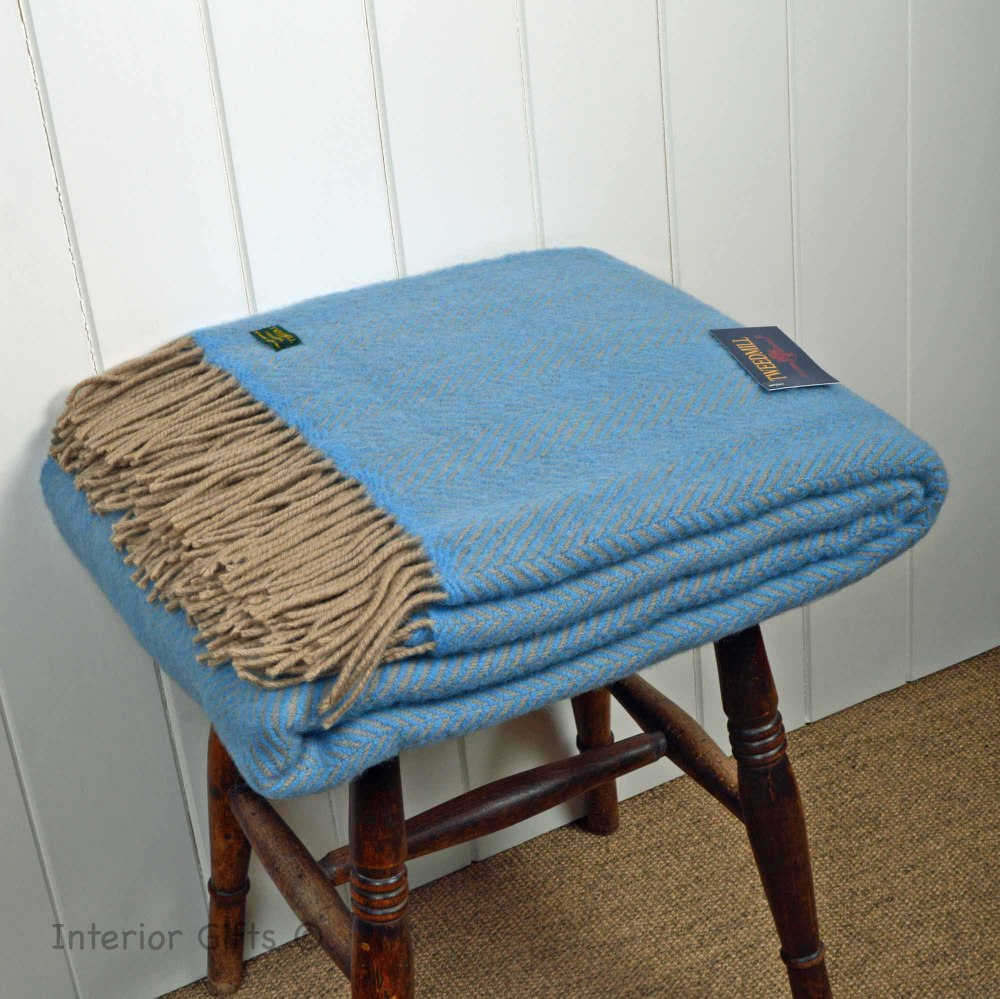 Sea Blue Herringbone Pure New Wool Throw