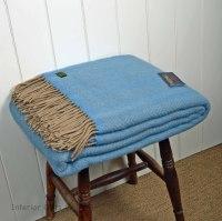 Tweedmill Sea Blue & Wheat Herringbone Pure New Wool Throw Blanket