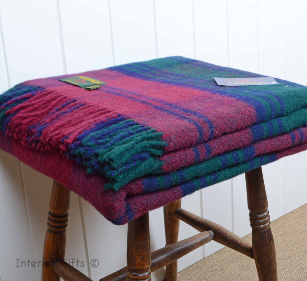 Wool Tartan Throw Tweedmill Red Lindsay Tartan Check Plaid