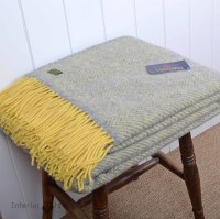 Tweedmill Lemon and Silver Grey Herringbone Pure New Wool Throw Blanket