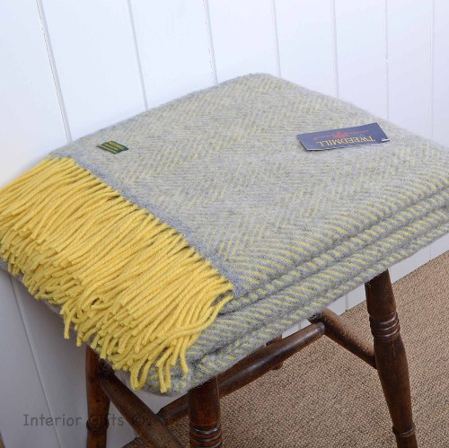 Lemon and Silver Grey Herringbone Pure New Wool Throw
