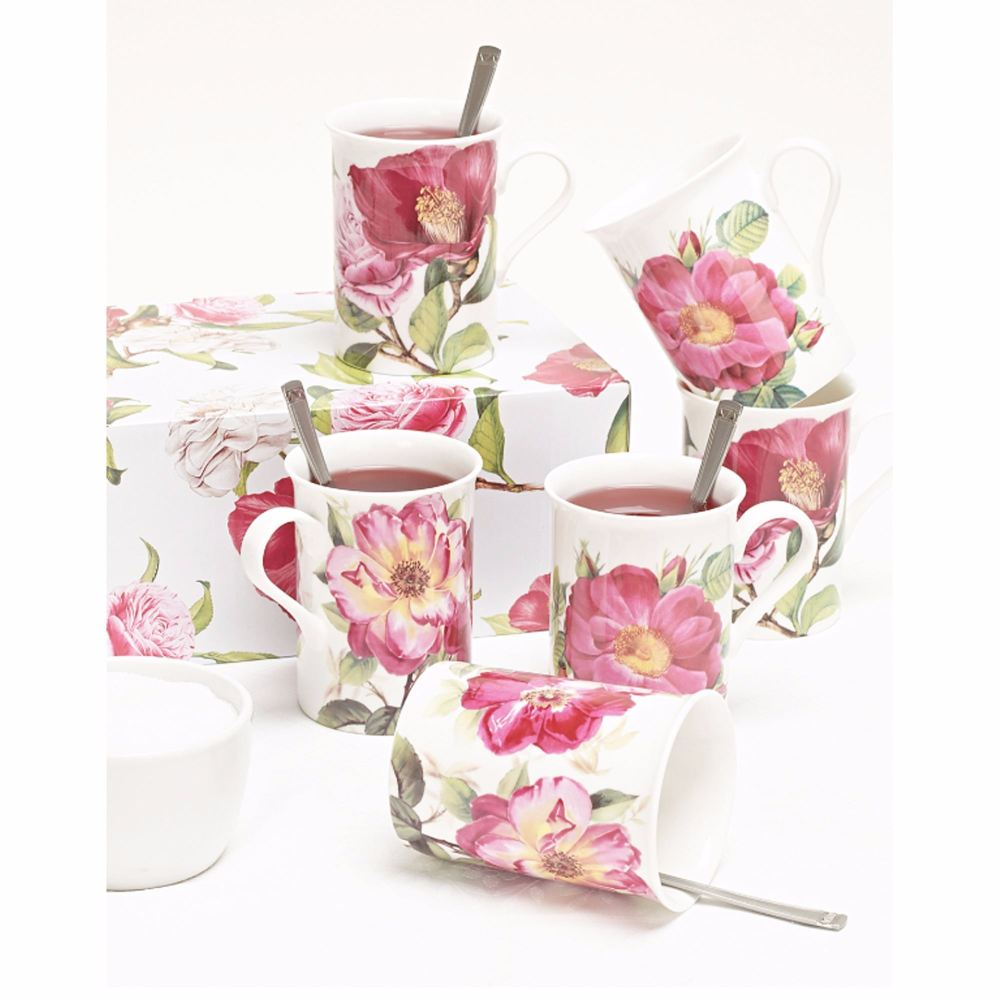Pink Roses Fine Bone China Mugs with Gift Box