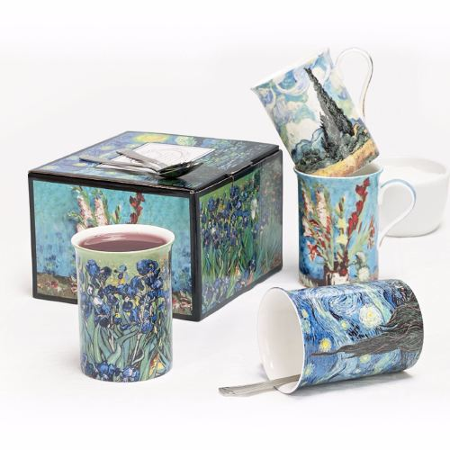 Artist Design Fine Bone China Four Mugs with Gift Box