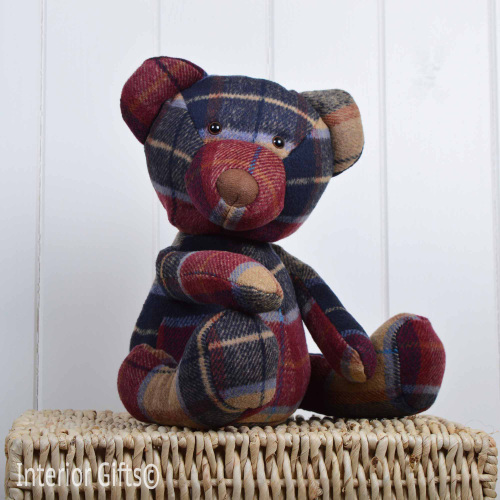 Door Stop Fabric Tartan Teddy Animal Door Stop Or Draught Excluder