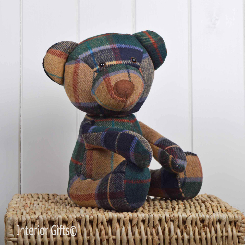 Fabric Teddy Door Stop - Green/Beige Tartan